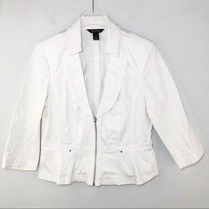 White House Black Market Zip Blazer White Sz 12